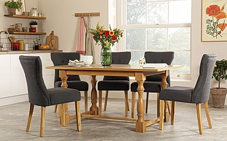Devonshire Oak Dining Table - with 4 Bewley Slate Chairs