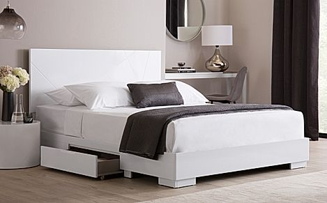 Turin White High Gloss Bed with 2 Drawers - King Size