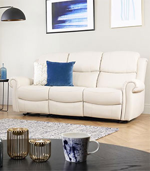 Hadlow Ivory Leather 3 Seater Recliner Sofa