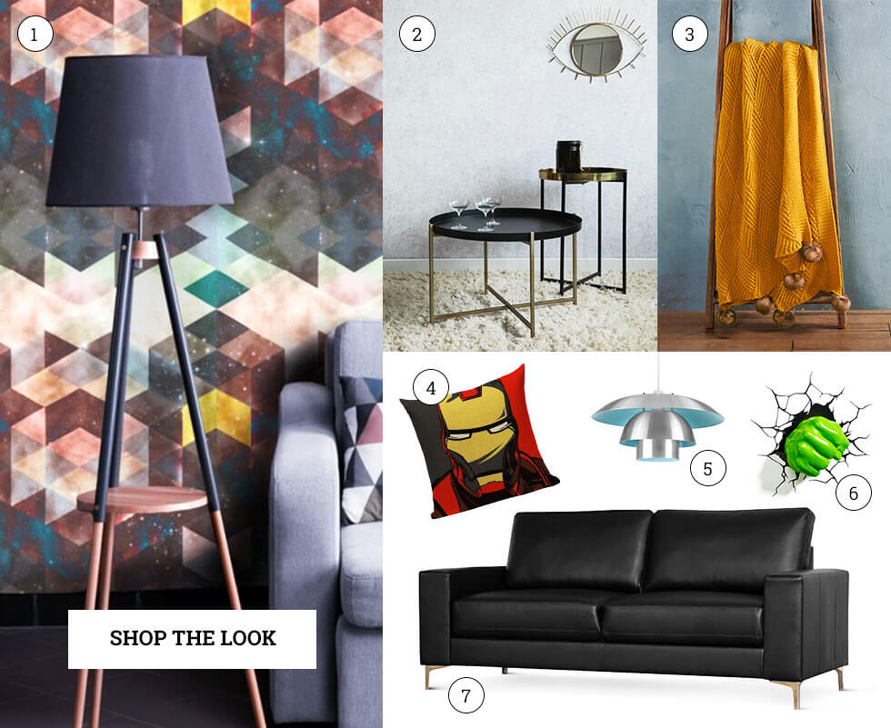 A collage of bold, modern home elements and furniture.